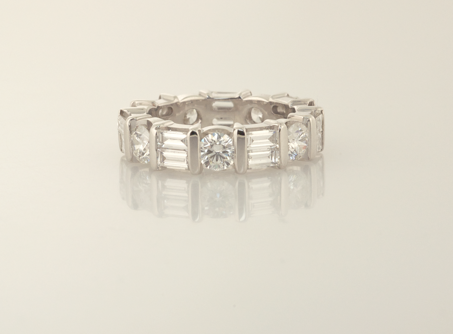 Diamond eternity band with baguettes and round diamonds