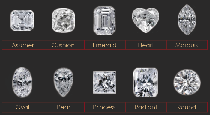 Asscher, Cushion, Emerald, Heart, Marquis, Oval, Pear, Princess, Radiant, Round