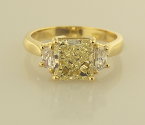 Yellow Diamond and White Diamond Three Stone Ring | New Pieces ...