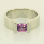 Lavender Sapphire in 18KT white gold ring back view