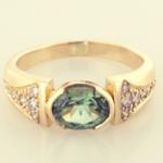 Tourmaline Ring, Maine Tourmaline, diamond and 14KT yellow GOld