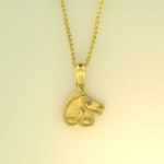 18KT yellow gold Celtic horse head pendant on 18KT yellow chain