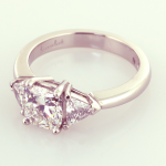 Three Stone RIng with Radiant and Trills in Platinum