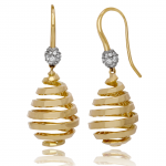 "18KT yellow gold and diamond ""pear"" drop earrings"
