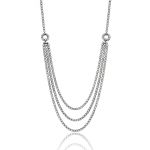 Elegant triple stand of diamond necklace