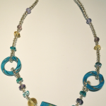 Aqua and Gold Italian glass bead necklace