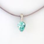 Pear shape green aquamarine (10.77ct.) 18KT white gold pendant