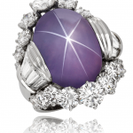 Star Sapphire and Diamonds Set in Platinum ring