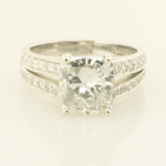 Diamond Engagement ring with 3.01ct Cushion Diamond and pavé accents