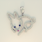 Diamond and white gold bunny pendant 1.26cts.