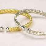 Sterling Silver Vermeil 4mm Woven Cuff Bracelet in !8KT Yellow or White Vermeil