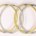 18kt White and Yellow Gold Vermeil on Sterling Silver 3 or 4mm braided bangle bracelets