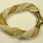Italian Glass Bead Multi Strand Cream Colored Bracelets