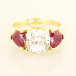 Three Stone Ring with 3.01ct Dia and side rubies in 18KT Yellow
