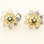Natural Fancy Yellow Diamond Starbusrt Earrings