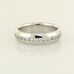 Platinum and round diamond eternity band with wider dome edges
