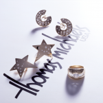 Diamond and gold collection, star and hoop earrings, dome ring