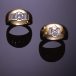 14KT yellow gold dome rings set with round and baguette diamonds
