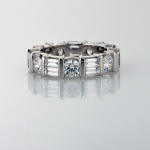 Eternity Band round and baguette shaped diamonds in platinum