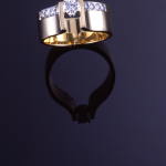 14KT gold and diamond (.50ct. & .20ct.) engagement  ring with diamond pavé accents