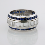 Eternity Band with Baguettes and Round Diamonds with two beveled sapphire eternity bands
