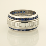 Diamond Baguette Eternity Band with Sapphire eternity Band Wings