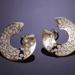 "Diamond and 14KT 1""  hoop earrings set with 2.00ct. diamonds"