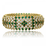 Diamond and Emerald Flexible Braelet set with 34.11cts. diamonds and 14.74cts. emeralds