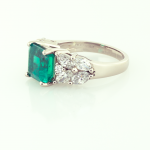 3.00ct. Emerald and diamond ring set in platinum and 18KT yellow gold.