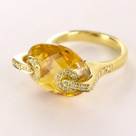 Marquise Shape Citrine and Diamond 18KT yellow gold ring