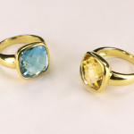 Citrine and Blue Topaz Bezel set Rings