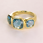 Blue Topaz Bezel Set Three Stone RIng in 18KT Yellow Gold