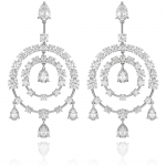 "Diamond and 18KT white gold ""chandelier"" style earrings."
