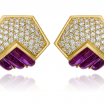Fluted Amethyst & Diamond Earrings Set in 18kt Yellow Gold