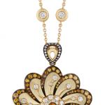 Pendant set with cognac and white diamonds, flower power motif.