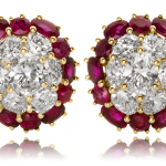 Ruby and diamond earrings in 18KT white and yellow gold