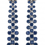 Earrings of sapphires and diamonds, flexible drop earrings