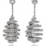DIiamond and 18KT White Gold Drop Earrings