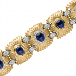 Blue Sapphires & Diamonds Set in Platinum & 18kt White & Yellow  Gold