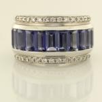 Contemporary Iolite and Diamond Ring