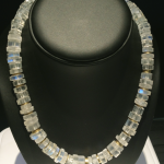 Moonstone rondelles and 18KT yellow gold beads with 14KT yellow gold catch