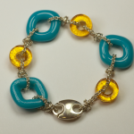 Sterling Silver & glass bracelet by Nora, Aqua & Gold