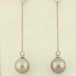 Faceted Tahitian Faceted Pearl and Diamond drop Earring