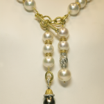 10mm South Sea Pearl and Gold Accents Lariat Necklace
