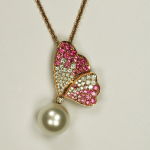 Pink sapphire and diamond pendant in rose gold with a 9.5mm white south sea  round pearl