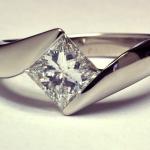 Princess cut 1.00ct. diamond set in 18KT white gold