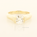 Modern Round Diamond Solitaire in Yellow Gold