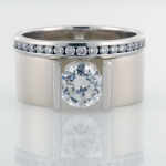 Channel Set Soitaire Modern Ring with Eternity Band