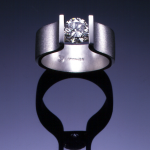 18KT white gold solitaire channel set with 1.00ct. round diamond