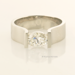 Modern Oval Diamond Solitaire in White Gold Front View